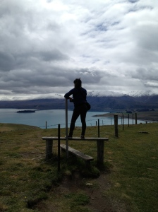 Facing amazing Lake Tekapo, New Zealand